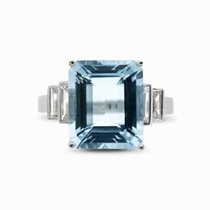 Octagonal Aquamarine & Diamond Ring - 5.00ct